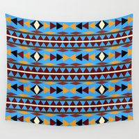 navajo Wall Tapestries featuring Navajo Blue Pattern Art by Christina Rollo