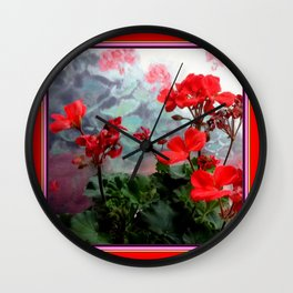 Red Geraniums Floral Red Abstract Wall Clock