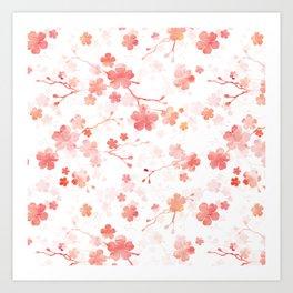 Peach pink Chinese cherry blossom on white Art Print