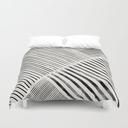Black and White Stripes, Abstract Duvet Cover
