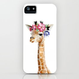 Baby Giraffe with Flower Crown iPhone Case