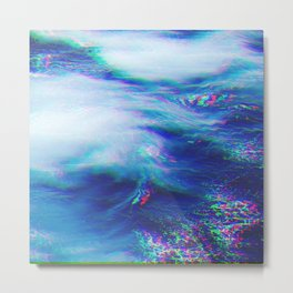 Oceanic Glitches - Very Blue Metal Print