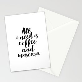 But First Coffee,Mascara Print,Wall Art,Gift For Her,Makeup Print,Girls Room Decor,Typography Print Stationery Cards