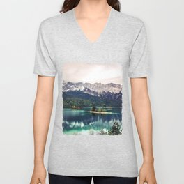 Green Blue Lake and Mountains - Eibsee, Germany Unisex V-Neck