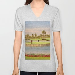 Sawgrass Golf Course 17th Green Putting Out Unisex V-Neck