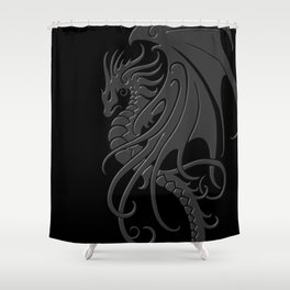 Flying Gray and Black Tribal Dragon Shower Curtain