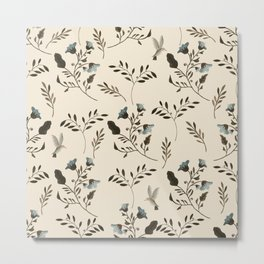 Ivory Cream and Bluebells and Bluebirds Floral Pattern Flowers in Blue and Bark Brown Metal Print