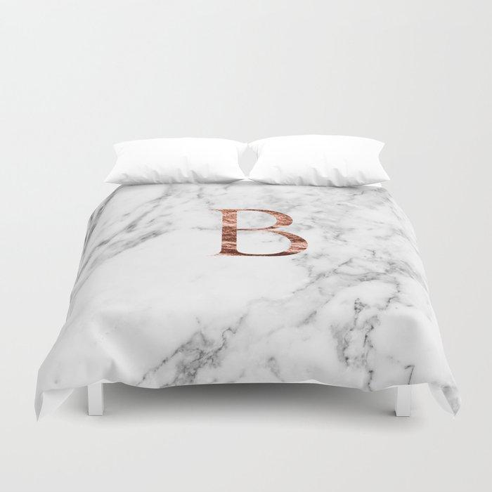 Monogram rose gold marble B Duvet Cover