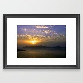 Sun Set over Santorini Framed Art Print