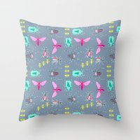 insects Throw Pillows featuring Insects by Micaela Zahner Design