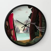 beaver Wall Clocks featuring Camp Beaver by Manuel Kilger