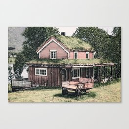 Wooden Red House Ink Drawing Canvas Print