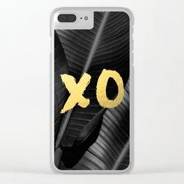 XO gold - bw banana leaf Clear iPhone Case