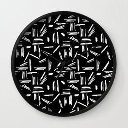 Crosshatch Doodle Black and White Wall Clock
