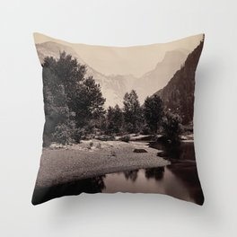 Distant View of the Domes, Yosemite Valley, California Throw Pillow