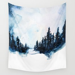 Winter Watercolor Wall Tapestry