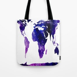 World Map Purple Blue Galaxy Tote Bag