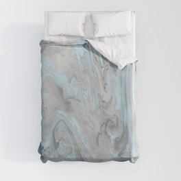 Ice Blue and Gray Marble Duvet Cover