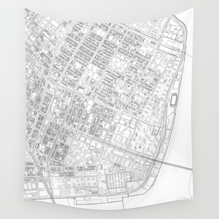 Abstract Map of New York City Manhattan Lower East Side Wall Tapestry by  anicepictureeveryday