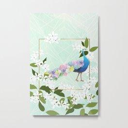 Peacock Hydrangeas Metal Print
