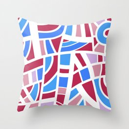 Broken Pink And Blue Abstract Throw Pillow