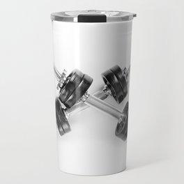 Crossed chrome hand barbells Travel Mug