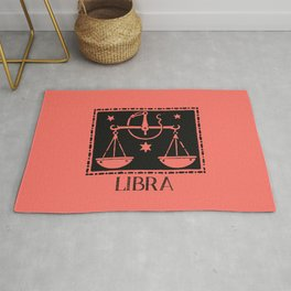 Libra Vintage Zodiac on Living Coral Rug