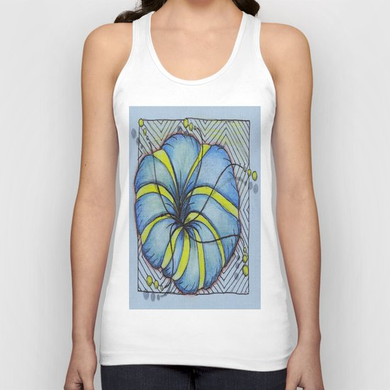 Blue and Yellow Zentangle Flower Unisex Tank Top