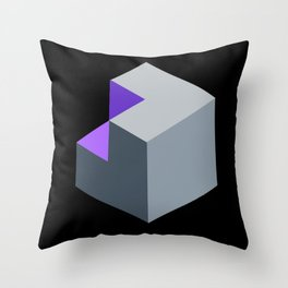 'Iso-Cube Purple' Throw Pillow