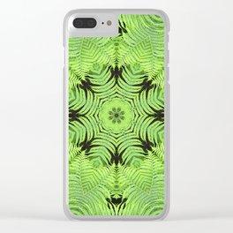 Fern frond fantasy kaleidoscope Clear iPhone Case