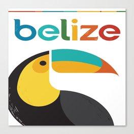 Belize Toucan Colorful Retro Vintage Travel Poster Canvas Print