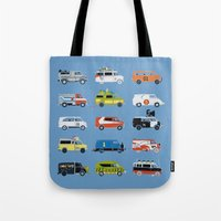 grease Tote Bags featuring It Would Have Been Cooler as a Van by Brandon Ortwein