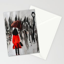 The Girl In The Red Rain Coat (Part 3)  Fine Art Acrylic Painting Stationery Cards