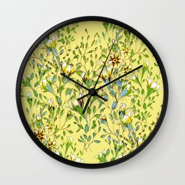 Climbing flowers among the leaves - yellow, green, multicolour Wall Clock