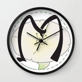 Rubys Flower Initials - M Wall Clock