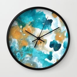Aqua Teal Gold Abstract Painting #2 #ink #decor #art #society6 Wall Clock