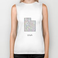 utah Biker Tanks featuring Utah map by David Zydd