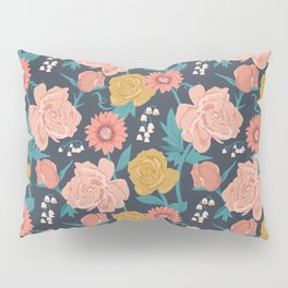 Paint by Numbers Florals on Navy Pillow Sham