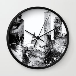 Black and white watercolor Houston skyline Wall Clock