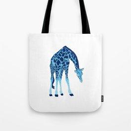 'Feelin' Blue' Pointillism Blue Giraffe Illustration Tote Bag
