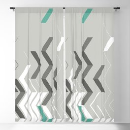 Deconstructed Chevron B – Gray / Teal Abstract Pattern Blackout Curtain
