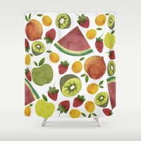 fruits Shower Curtains featuring fruits by Ana Rey