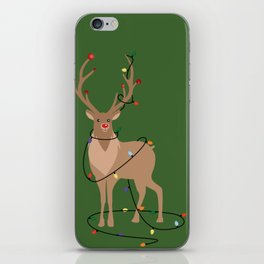 Rudolph Red Nosed Reindeer happy with his Favorite Christmas Lights iPhone Skin
