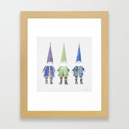 Three funny gnomes Framed Art Print