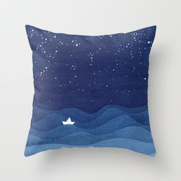 blue ocean waves, sailboat ocean stars Throw Pillow