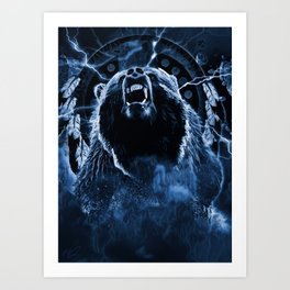 CHIEF CHARGING BEAR Art Print