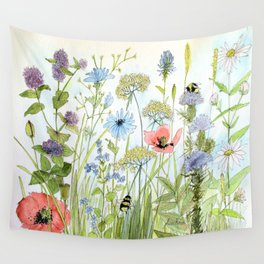 Floral Watercolor Botanical Cottage Garden Flowers Bees Nature Art Wall Tapestry