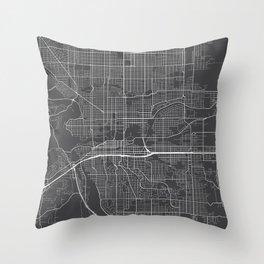 Spokane Map, USA - Gray Throw Pillow