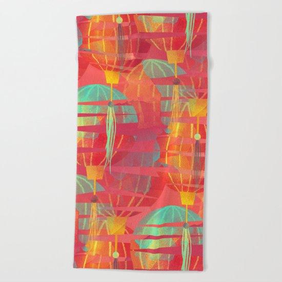 Watercolor Paper Lanterns on Pink Beach Towel