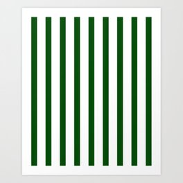 Dark Green Vertical Stripes Design Art Print
